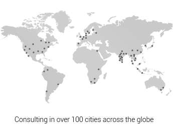World map showing that HFI has consulted in over 100 cities across the world.