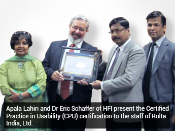 Dr Eric Schaffer and Apala Lahiri of HFI presenting the Certified Practice in Usability to the staff of Rolta India Ltd.